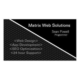 Geometric Tech Business Card, Metallic Gray