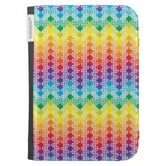 Geometric Techno Rainbow Chevron Case For Kindle