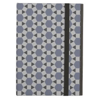 Geometric Tessellation Pattern in Grey and Blue Cover For iPad Air