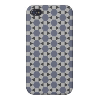 Geometric Tessellation Pattern in Grey and Blue Covers For iPhone 4