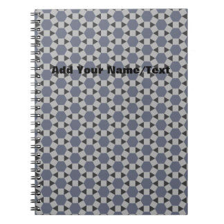 Geometric Tessellation Pattern in Grey and Blue Spiral Notebook