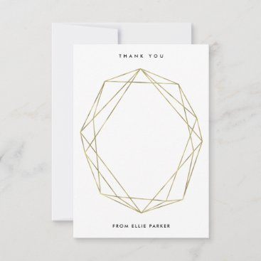 Geometric Thanks | Faux Gold Thank You Card