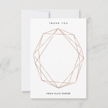 Geometric Thanks | Faux Rose Gold Thank You Card