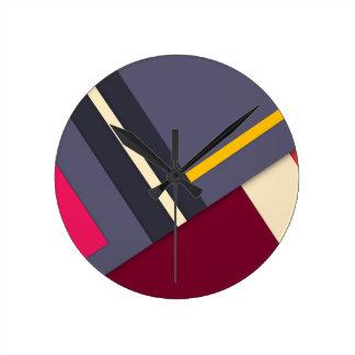 Geometric theme round clock