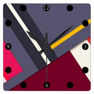 Geometric theme square wall clock