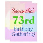"[ Thumbnail: Geometric Themed ""73rd Birthday Gathering"" Invitation ]"