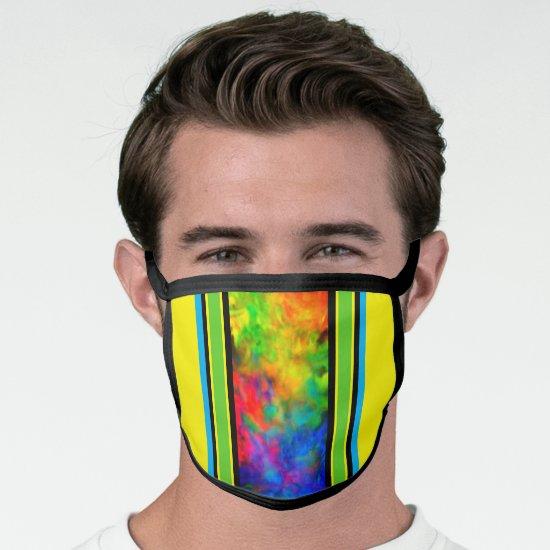 [Geometric Tie-Dye] Black Yellow Green Stripes Face Mask