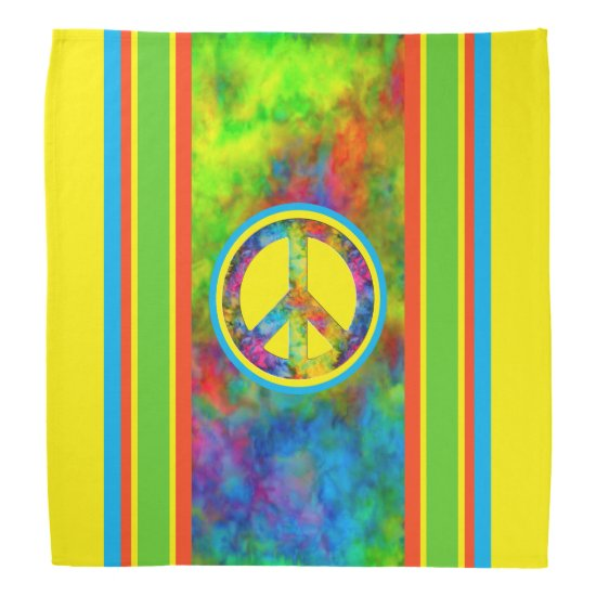 [Geometric Tie-Dye] Modern Stripes with Peace Sign Bandana
