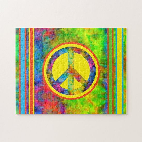 [Geometric Tie-Dye] Modern Stripes with Peace Sign Jigsaw Puzzle