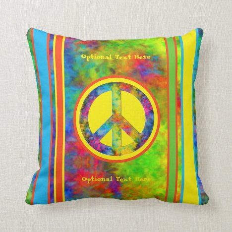 [Geometric Tie-Dye] Modern Stripes with Peace Sign Throw Pillow