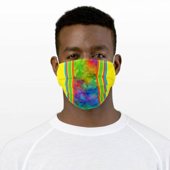 [Geometric Tie-Dye] Orange Yellow Green Stripes Cloth Face Mask