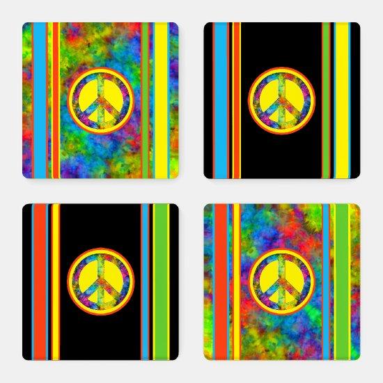 [Geometric Tie-Dye] Stripes w/ Peace Sign Acrylic Coaster Set