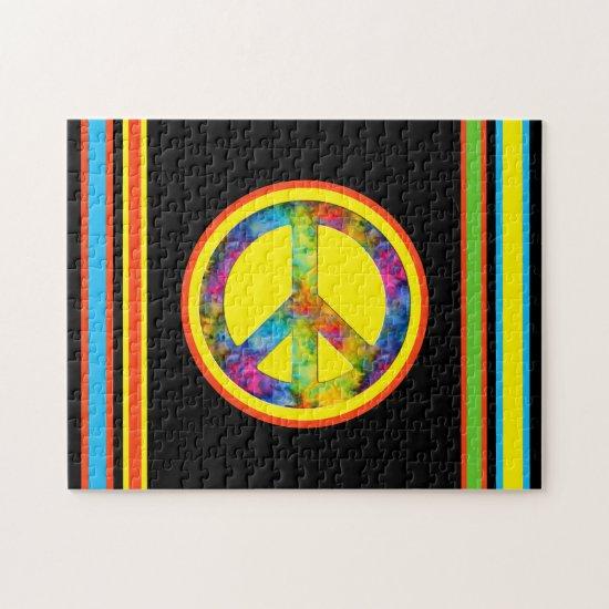 [Geometric Tie-Dye] Stripes with Peace Sign Black Jigsaw Puzzle