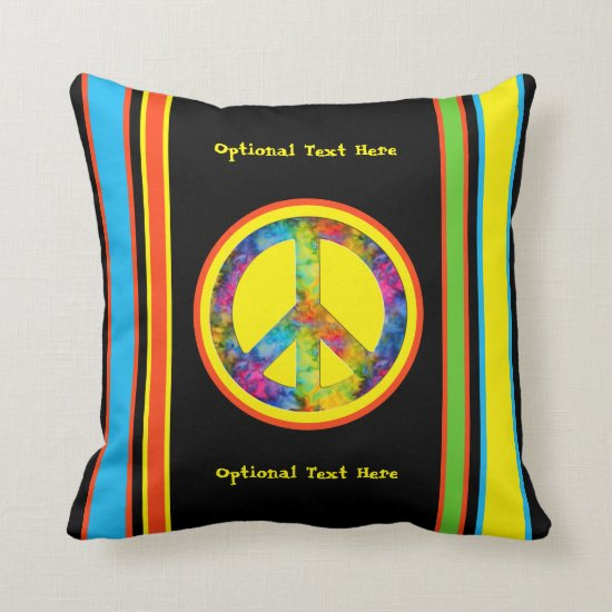 [Geometric Tie-Dye] Stripes with Peace Sign Black Throw Pillow