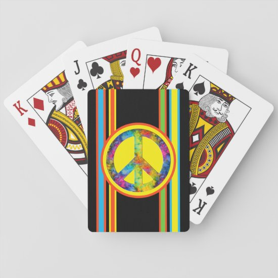 [Geometric Tie-Dye] Stripes with Peace Sign Playing Cards