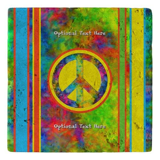 [Geometric Tie-Dye] Stripes with Peace Sign Trivet