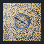 """Geometric tile pattern, Morocco Square Wall Clock<br><div class=""""desc"""">Morocco,  Agdz,  the Kasbah of Telouet,  fortress belonging to the T&#39;hami el Glaoui family was built late 19th Century. Zelij Moroccan tile work. 