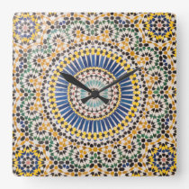 Geometric tile pattern, Morocco Square Wall Clock