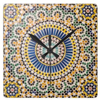 Geometric tile pattern, Morocco Square Wall Clock