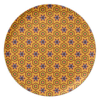 Geometric tile patterns, tango orange melamine plate