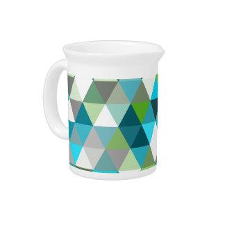 Geometric Triangle Blue Green Pattern Design Pitcher