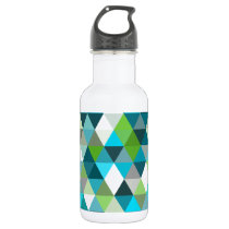 Geometric Triangle Blue Green Pattern Design Stainless Steel Water Bottle
