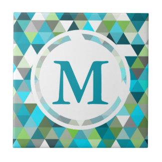 Geometric Triangle Blue Green Pattern Design Ceramic Tiles
