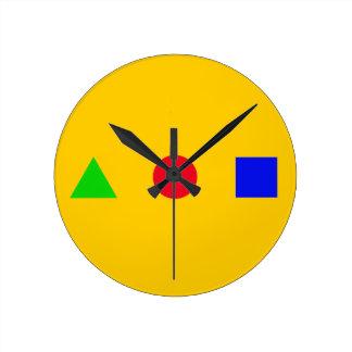 geometric - triangle, circle and square round wallclocks