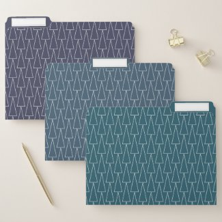 Geometric Triangle Pattern Teal Blue Purple File Folder