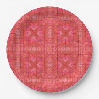 Geometric Triangles and Diamonds In Red And Pink Paper Plate