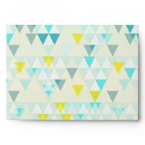 Geometric Triangles Aqua Blue White Yellow Pattern Envelope