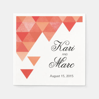 Geometric Triangles Cocktail Party | coral Napkin