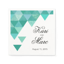 Geometric Triangles Cocktail Party | teal Paper Napkin