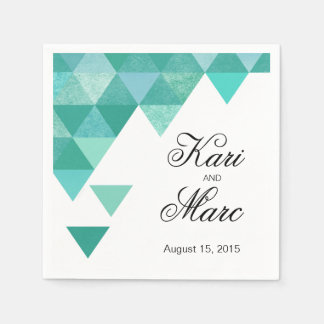 Geometric Triangles Cocktail Party | teal Standard Cocktail Napkin