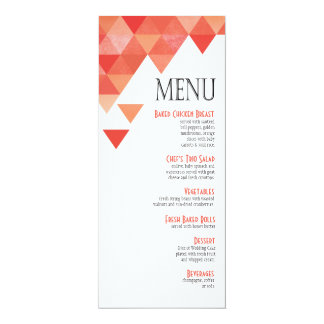 Geometric Triangles Dinner Menu | coral peach 4x9.25 Paper Invitation Card