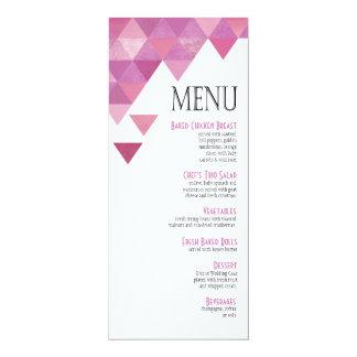 Geometric Triangles Dinner Menu | lilac purple 4x9.25 Paper Invitation Card