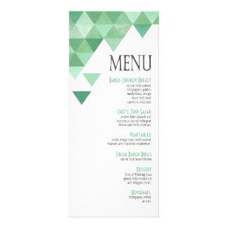 Geometric Triangles Dinner Menu | mint green Personalized Invitations