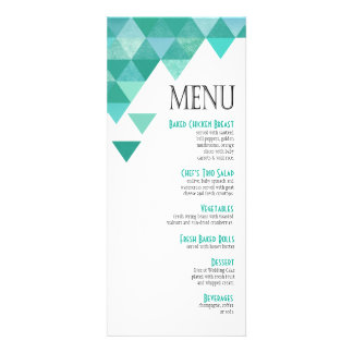 Geometric Triangles Dinner Menu | teal turquoise Personalized Invitations