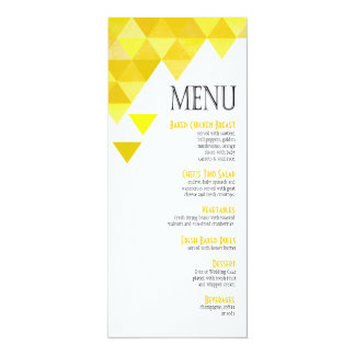 Geometric Triangles Dinner Menu | yellow gold Card