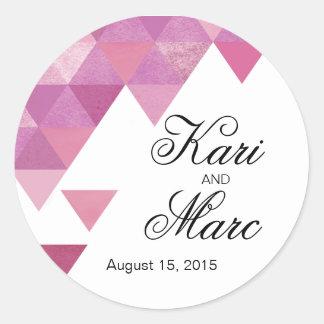 Geometric Triangles Favor Decal | lilac purple Classic Round Sticker