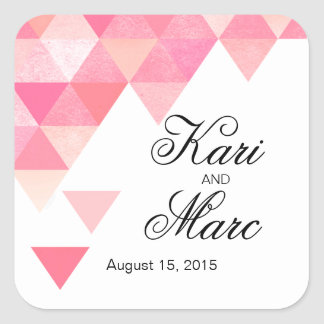 Geometric Triangles Favor Decal | peony pink mauve Square Sticker