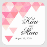 Geometric Triangles Favor Decal | peony pink mauve Square Sticker