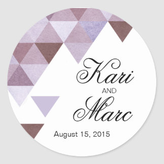 Geometric Triangles Favor Decal | periwinkle Classic Round Sticker