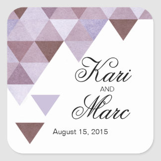 Geometric Triangles Favor Decal | periwinkle Square Sticker