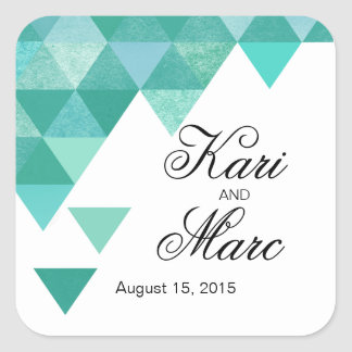 Geometric Triangles Favor Decal | teal turquoise Square Sticker