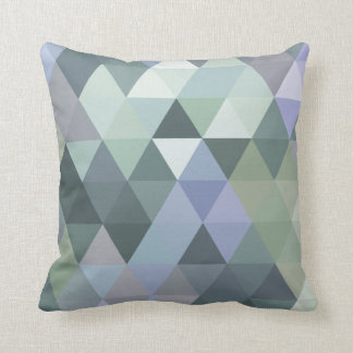 Geometric Triangles Foggy Morning Blues Throw Pillow