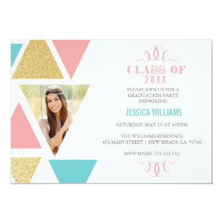 "Geometric Triangles Graduation Invitations 5"" X 7"" Invitation Card"