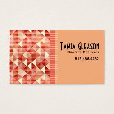 Professional Business Geometric Triangles Graphic Designer Artist peach Business Card
