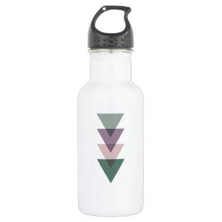 Geometric Triangles in Green & Purple Water Bottle
