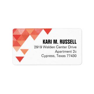 Geometric Triangles Mailing | coral peach Label